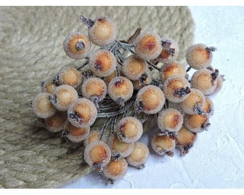 Ягодки на веточке сахарные 10 мм, цв. светло-коричневый ( 12 ягод)