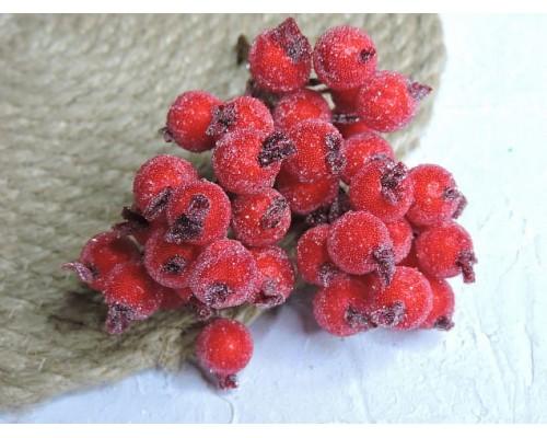 Ягодки на веточке сахарные 10 мм, цв. красные ( 12 ягод)