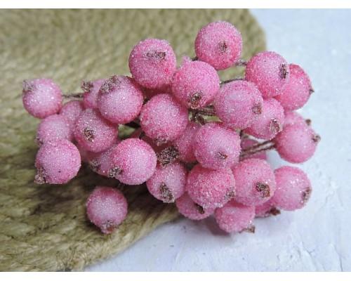 Ягодки на веточке сахарные 10 мм, цв. светло-розовый ( 12 ягод)