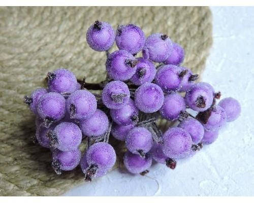 Ягодки на веточке сахарные 10 мм, цв. сиреневые  ( 12 ягод)