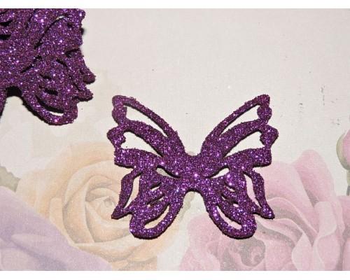 """Заготовка """"Бабочка резная 1""""  4*3,5 см, цв.  фиолетовый - 1шт."""