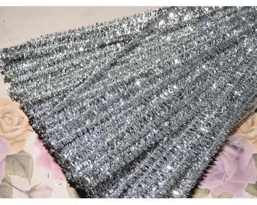 Проволока синельная металлик, цв. серебро  - 1шт