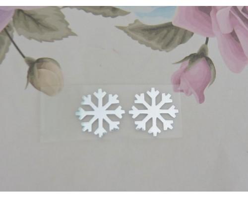 """Термотрасферная наклейка """"Снежинка 2""""цв. зеркальное  серебро 15 мм (пара)"""