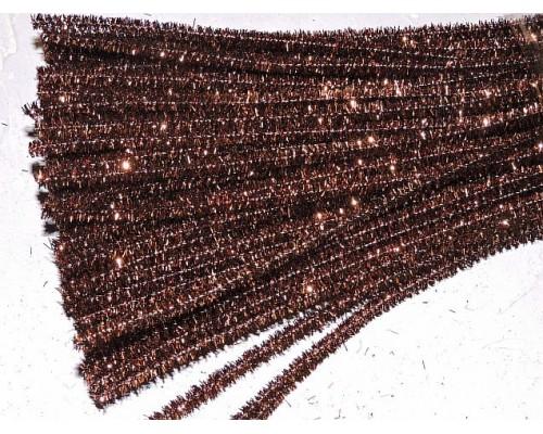 Проволока синельная металлик, цв. коричневый - 1 шт