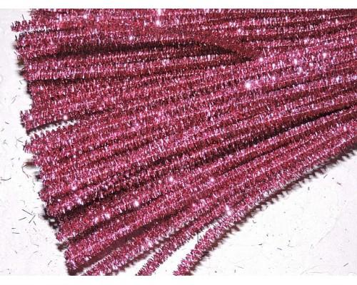 Проволока синельная металлик, цв. розовый - 1 шт