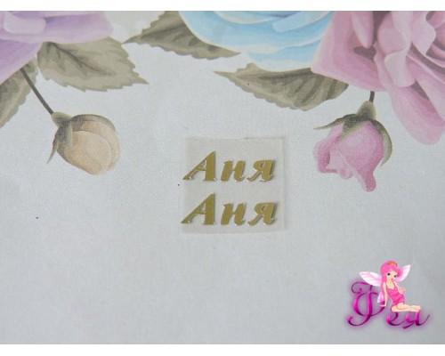 """Термотрансферная наклейка """"Аня"""", матовая цв. золото, 15 мм (пара)"""