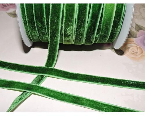 Лента бархатная 10 мм, цв.  травяной - 1 м