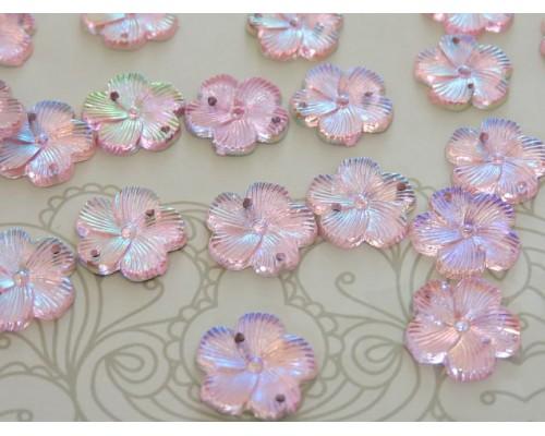 """Пришивные стразы """"Цветок"""" 15 мм, цв. розовый радужный - 1 шт"""