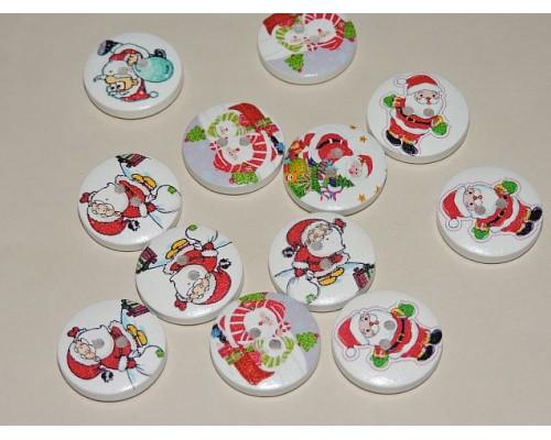 """Декоративные  пуговицы 20 мм с рисунком """"Санта Клаус"""" - 1шт.( без выбора рисунка)"""