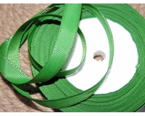 Репсовая лента 10 мм с люрексом серебро, цв. зеленый  - 1м