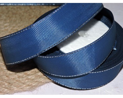 Репсовая лента 25 мм с люрексом серебро, цв. темно-синий - 1м
