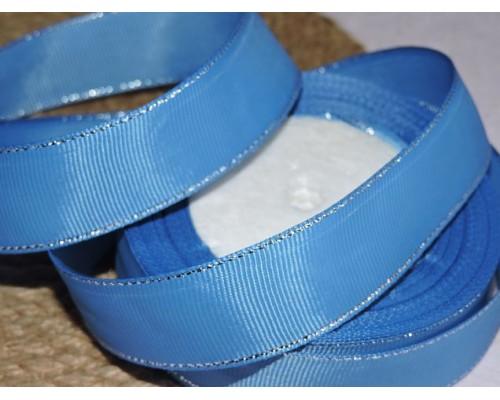 Репсовая лента 25 мм с люрексом серебро, цв. светло-синий - 1м