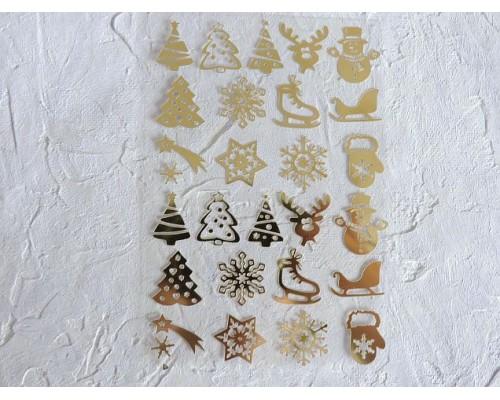 """Термотрасферная наклейка """"Новогодние 2"""" глянец, цв. золото 8,5*12 см (лист)"""