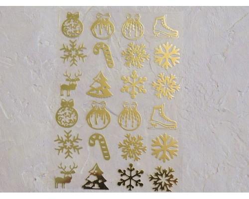 """Термотрасферная наклейка """"Новогодние 3"""" глянец, цв. золото 8,5*12 см (лист)"""