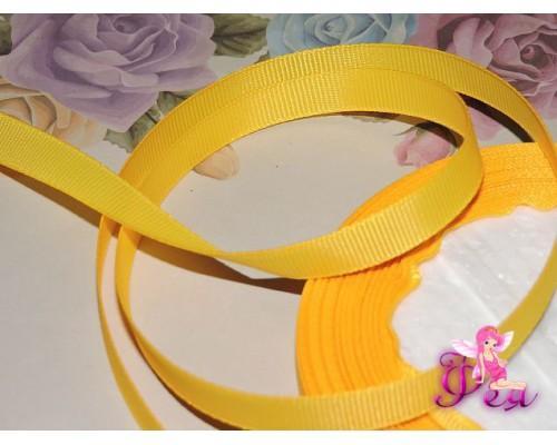 Репсовая лента 10 мм цв. насыщенный желтый - 1 м