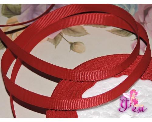Репсовая лента 10 мм цв. насыщенный бордовый - 1 м