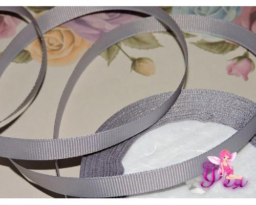 Репсовая лента 10 мм цв. серый - 1 м