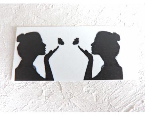 """Термонаклейка """"Девушка с бабочкой"""" высота - 2,0 см (пара)"""