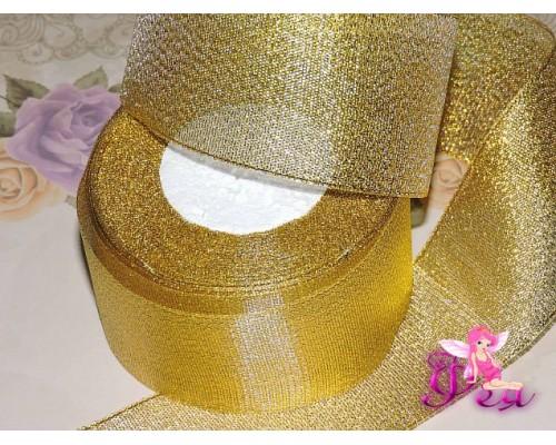 Лента парча 50 мм, золото - 1м